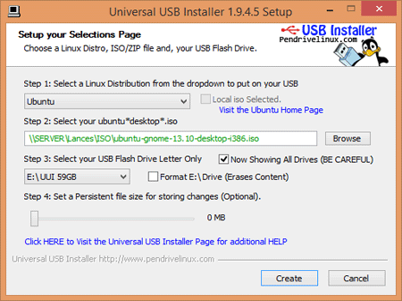 Universal USB Installer Steps