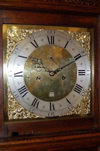 Lovely square brass dial with chapter ring and spandrels