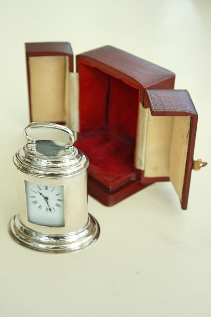Oval silver carriage clock