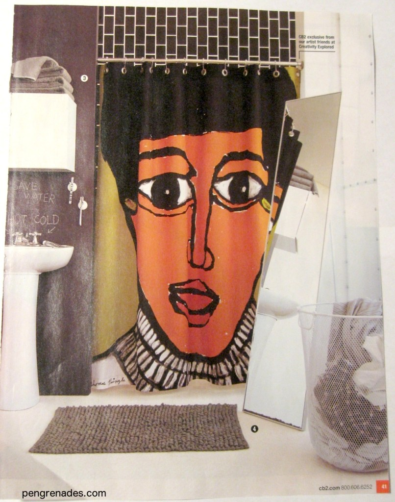 shower curtain with face staring at you