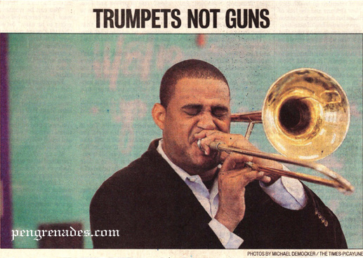 trumpets not guns - newspaper photo