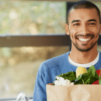 man w groceries