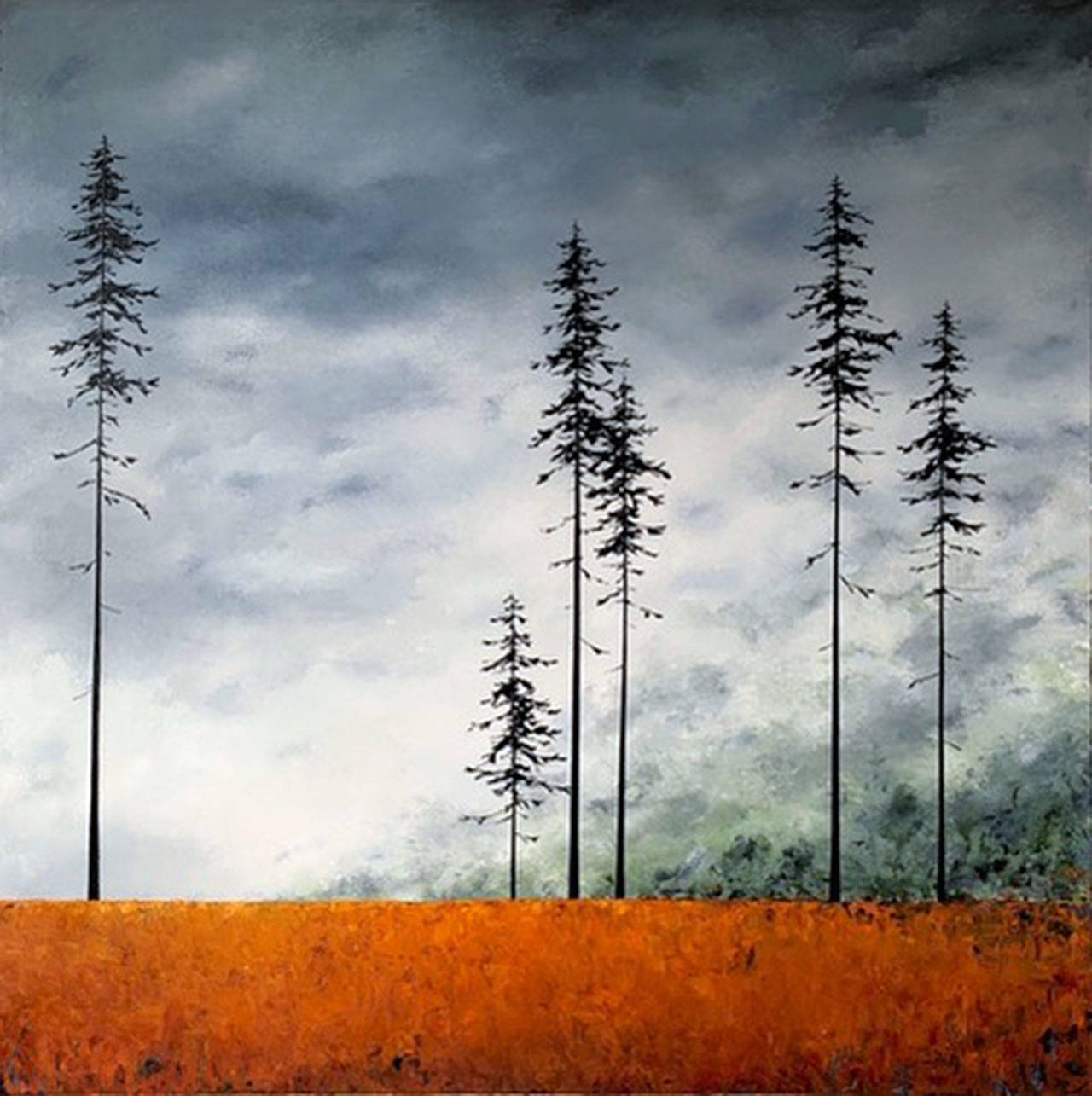 ??  Sentinals III ??  palette knife and oils by Carolyn Doe