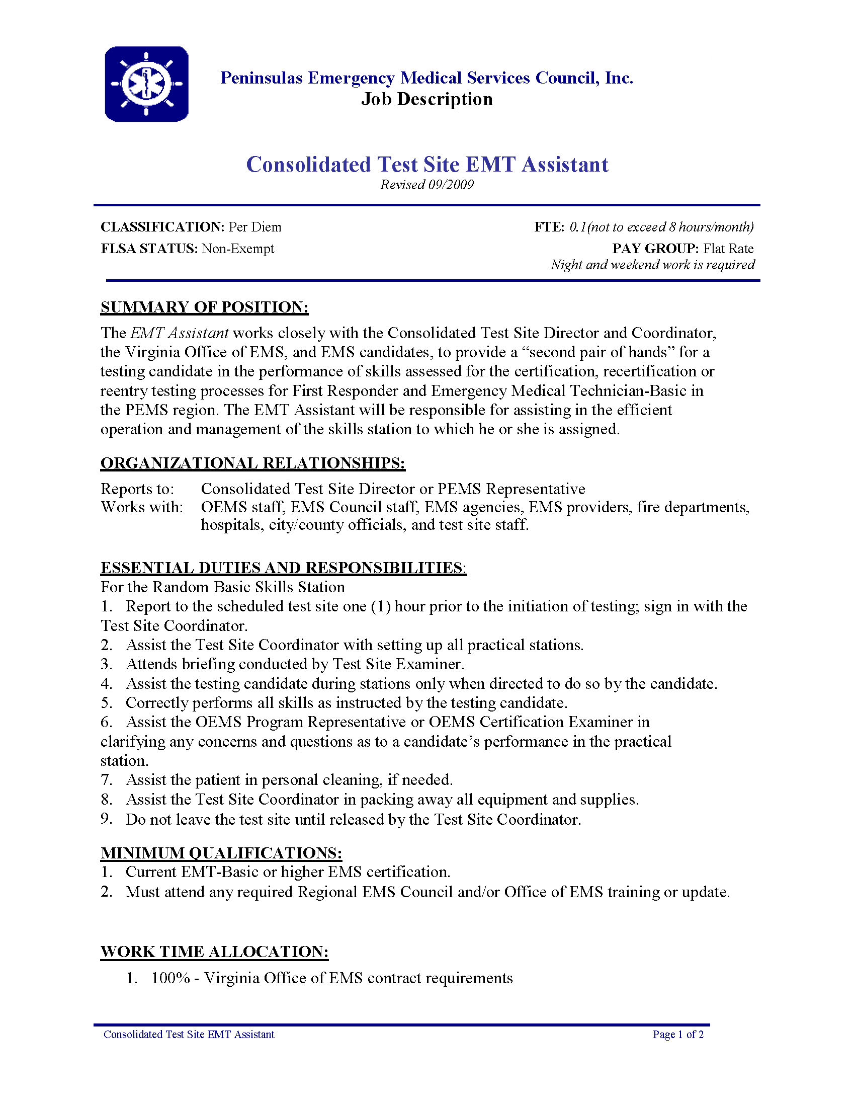 05-010 Pems Cts - Consolidated Test Site Emt Assstant (9-09)