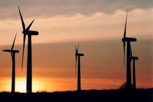 wind turbines at sunset, millhouse green