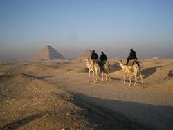 Antiquities police heading to work at Saqqara