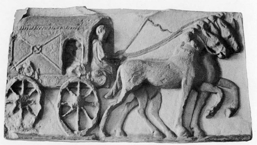 A bas relief showing the covered carriage in which, for a fee, the ordinary Roman traveler would be carried on his journey along the Roman highways.