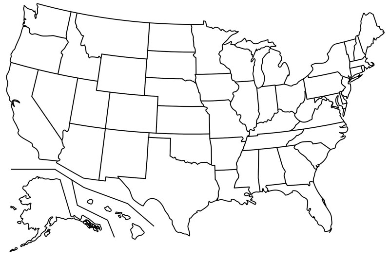 Blank map of us mountain ranges, home emergency kits canada