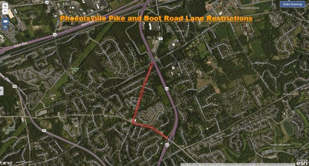 Phoenixville Pike and Boot Road Lane Restrictions Chester County.JPG