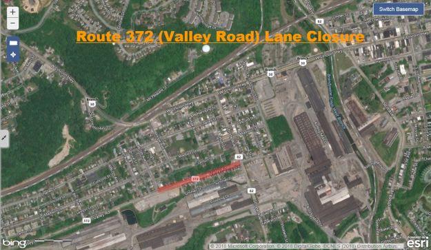 Route 372 (Valley Road) Lane Closure.JPG