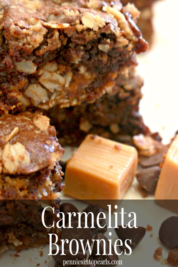 Carmelita Brownies - penniesintopearls.com - Taking your already amazing carmelita recipe to the next level. Adding an extra two layers of decadent brownies tops all other desserts!