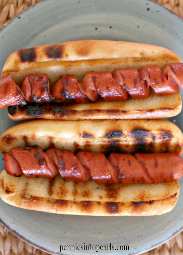 Spiral Cut Hot Dogs - penniesintopearls.com - The very best way how to cook hot dogs. Easy and delicious idea!