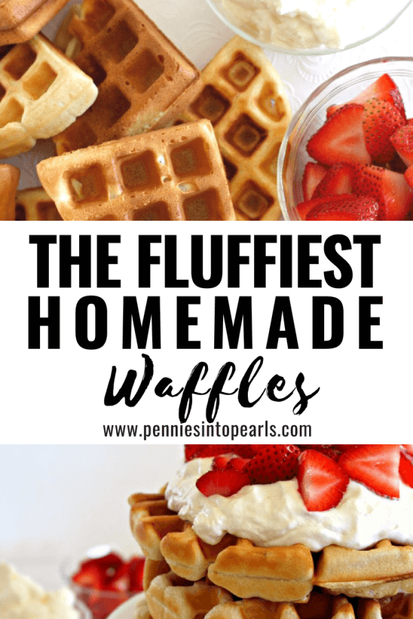 These homemade waffles are so yummy! No need to use a box mix when you can use this super easy recipe! These fluffy waffles make the best breakfast and are so much better than the premade kind from the store! You can even freeze these waffles for later!