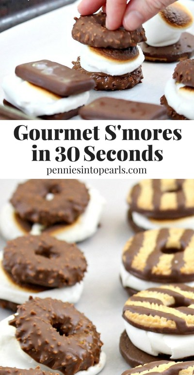 BEST Quick Gourmet S'mores Recipe! Two ingredients and 30 seconds is all you need for this tasty gourmet s'mores recipe!