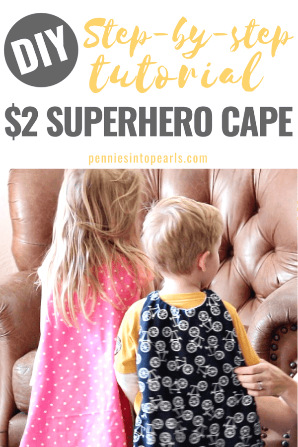 This was a super easy step-by-step tutorial to make a superhero cape for children!  These simple DIY superhero cape costume tutorial is perfect for Halloween or a superhero birthday party for boys or girls!