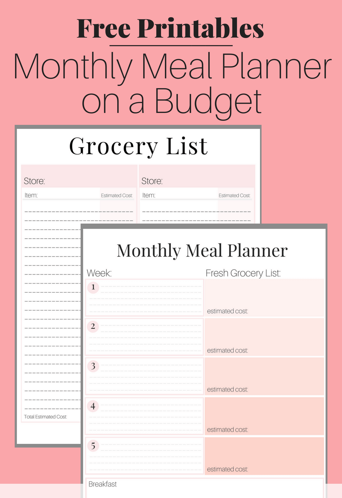 picture relating to Free Printable Meal Planner Template identified as No cost Printable - Supper Designing upon a Funds Toolkit