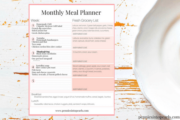 complete 400 meal plan november 2016 pennies into pearls