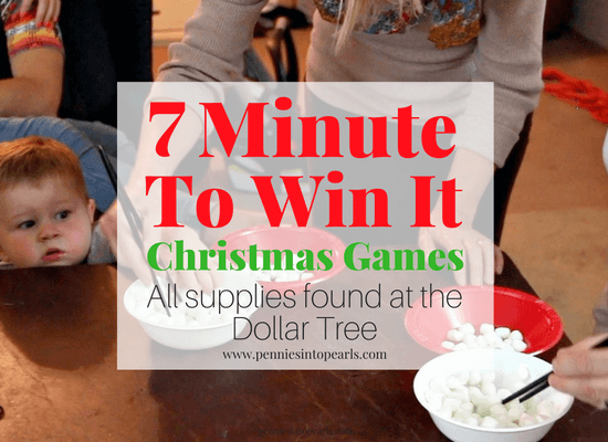 Here are 7 super fun Minute To Win It Games, Christmas Edition. With the bonus of all the supplies either found already at home or at the Dollar Tree! These Minute to Win It Games will entertain every one in your family all night and won't cost you much more than a couple bucks spent at the Dollar Tree!