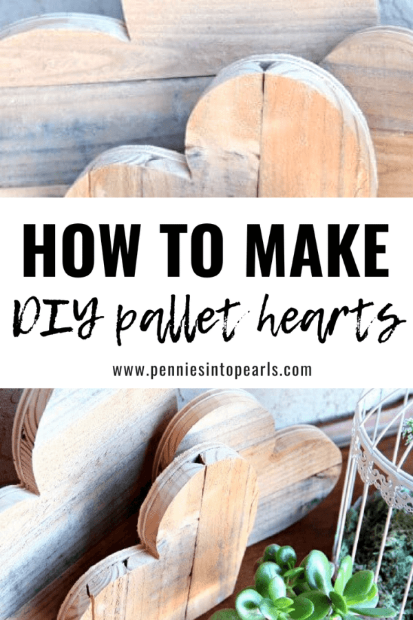 This was such an easy step-by-step tutorial on how to make DIY pallet hearts for a fun decoration! These were simple to make even without knowing how to use power tools! Such a good use for old pallets!
