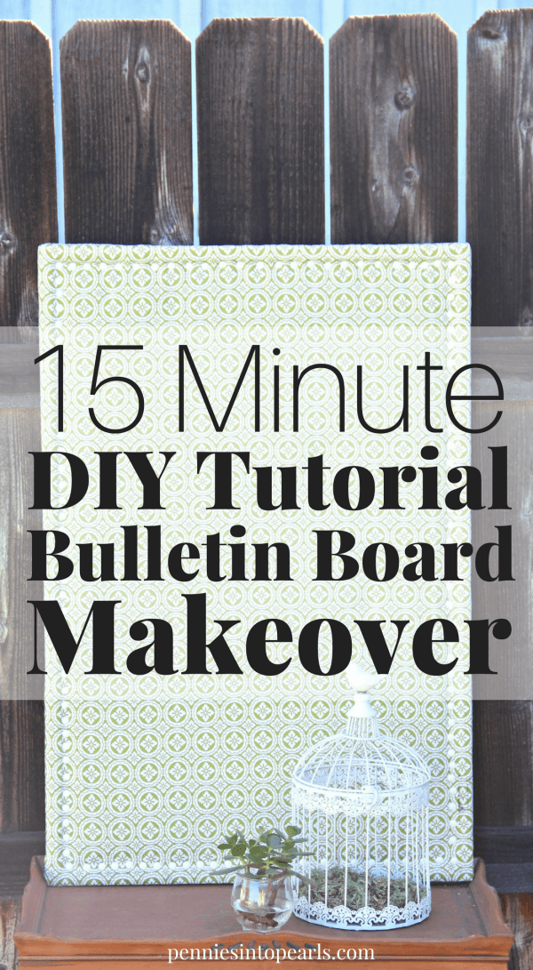 Learn how to makeover an old bulletin board in less than 20 minutes and for just a couple bucks! This is the perfect DIY makeover for an old thrift store bulletin board find. Step-by-step directions with tips on where to get the cheapest supplies!