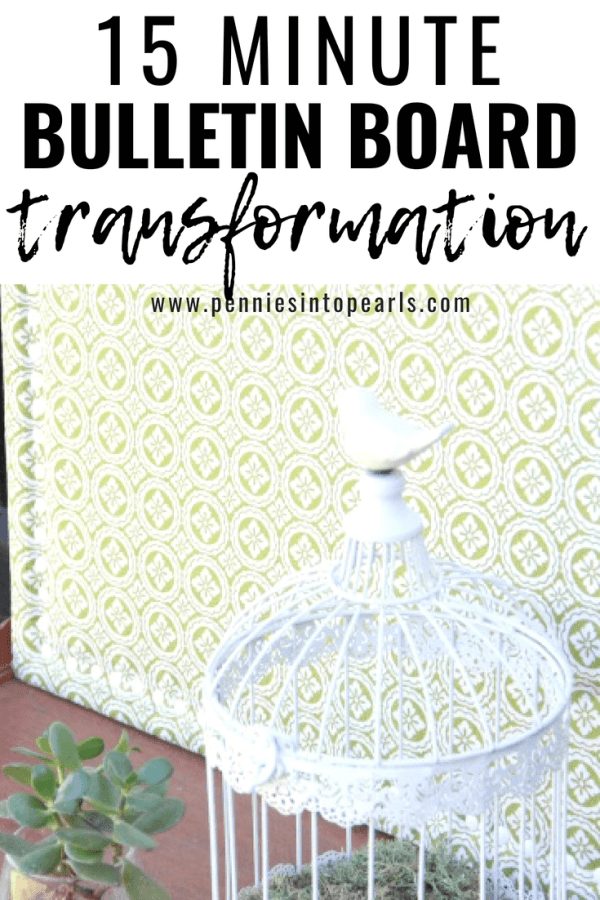 Check out this fun 15 minute bulletin board transformation, what a great way to decorate your home office and help keep you organized!  This DIY cork board is a great way to salvage an old cork board you may have lying around!