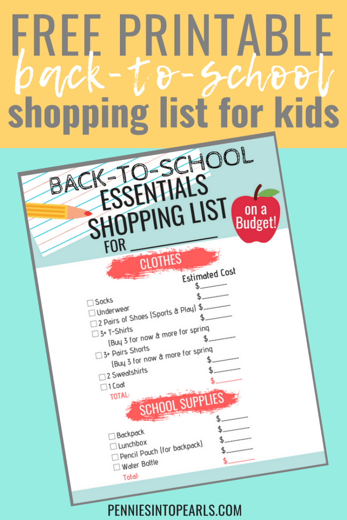 Doing your back to school shopping on a budget is a game changer! No more mom stress about spending the money! This FREE PRINTABLE Back to School Shopping List will help you get all the basic essentials for your kid's back to school outfits and back to school supplies. To get it all and stick to a set budget and still make it all work!