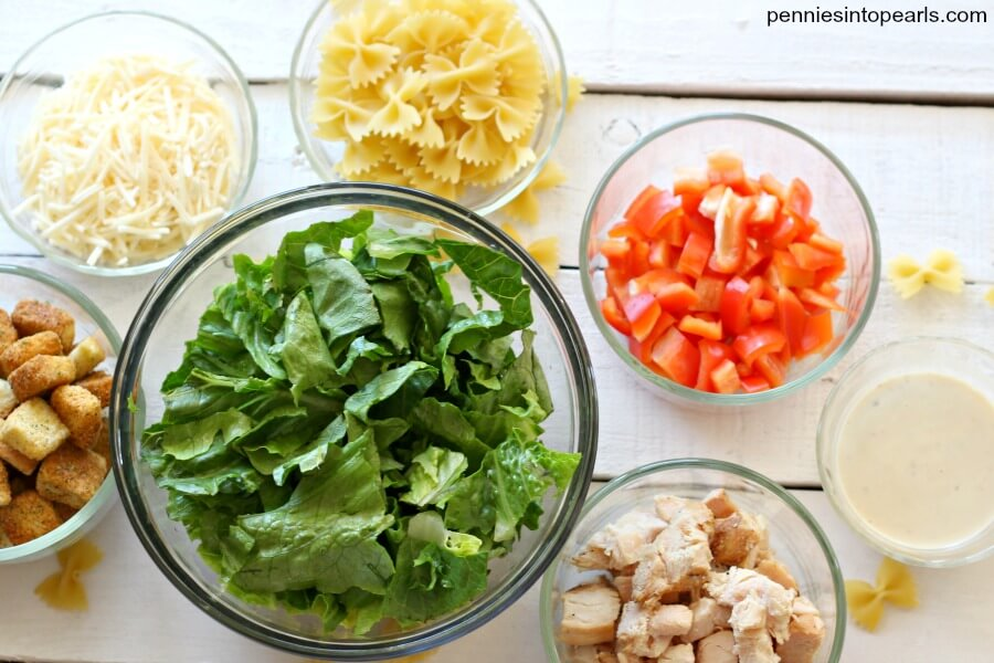 Easy Cesar Pasta Salad Recipe - Pennies into Pearls