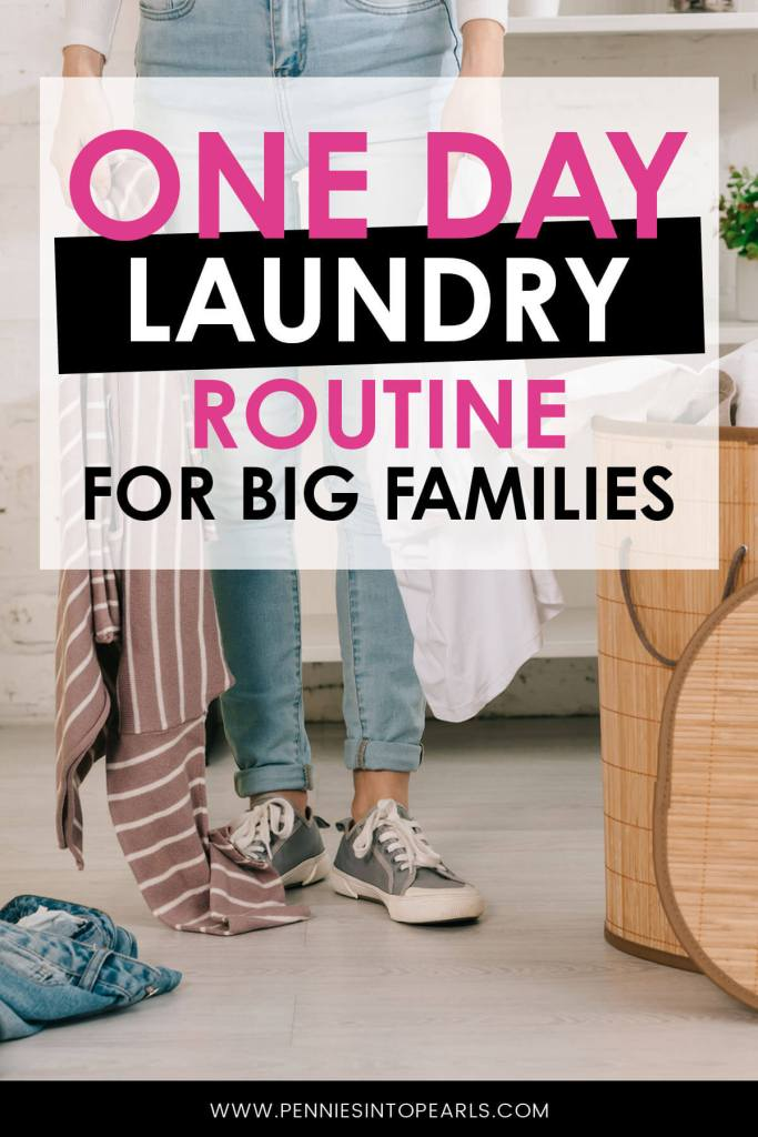 This is our one day laundry routine for big families. I like to tackle it all on one day, here is how.