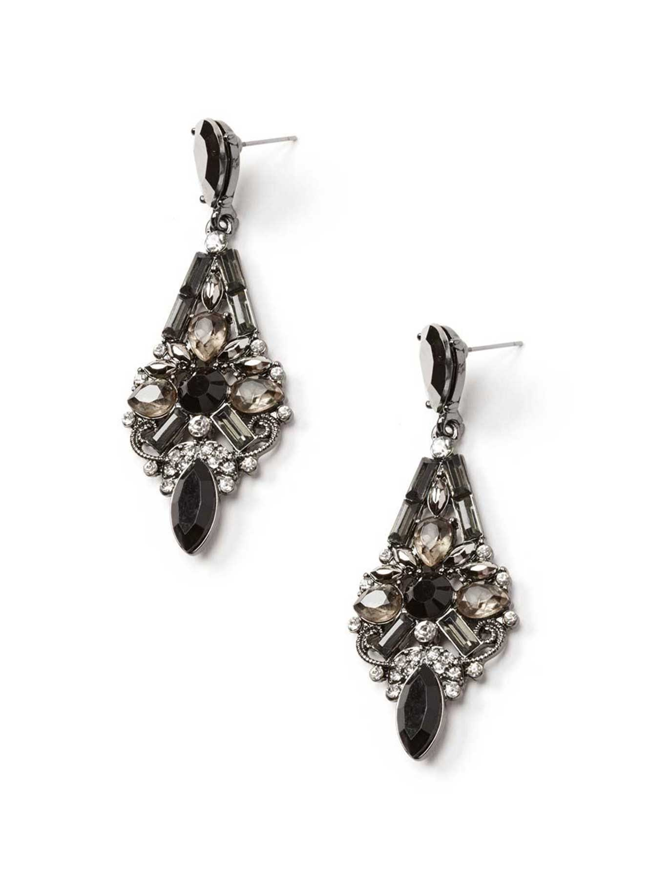 Statement Earrings with Black Stones