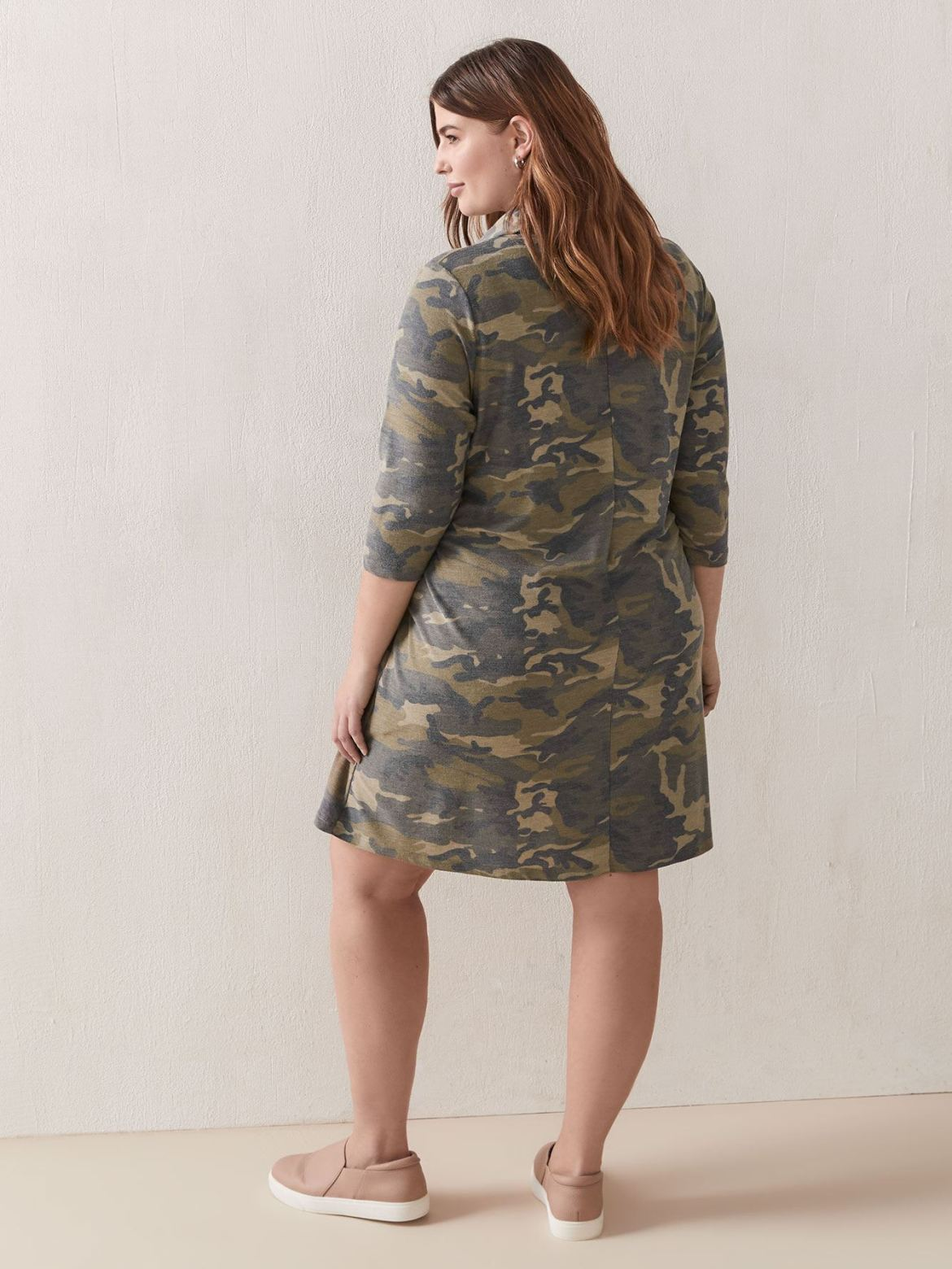 Cowl Neck 3/4 Sleeve Knit Dress - In Every Story