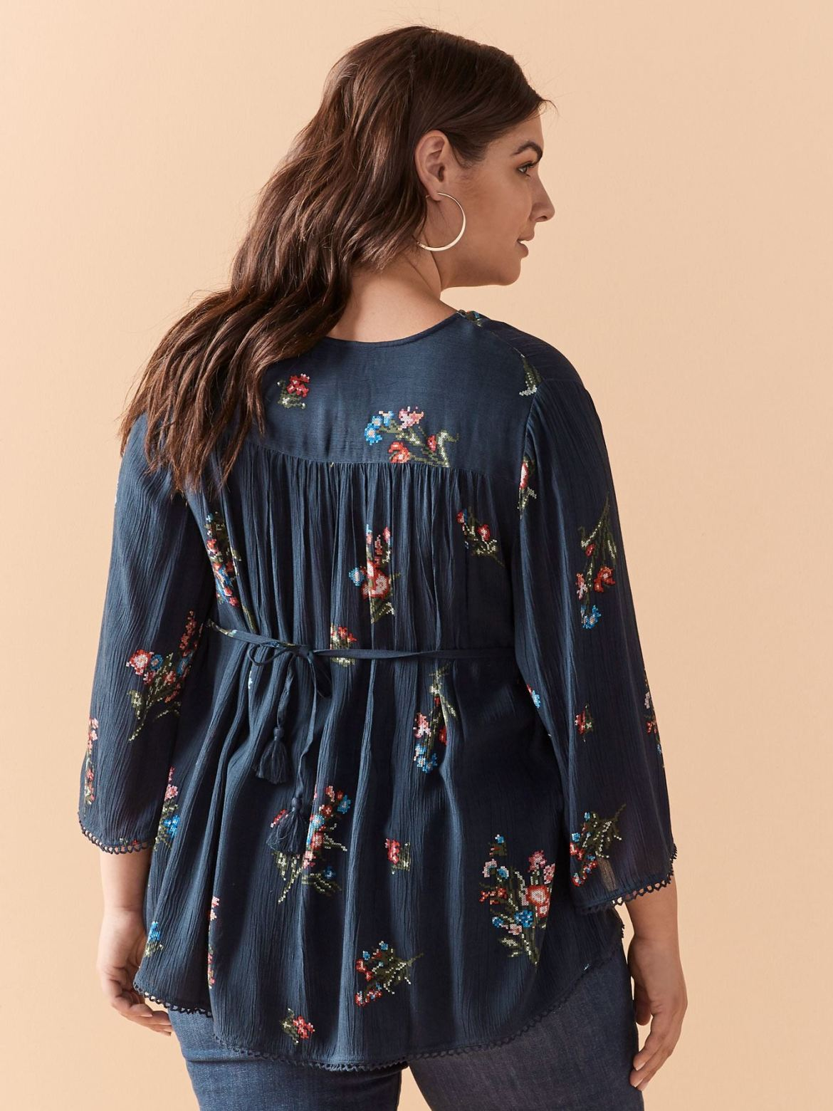 Elbow Sleeve Blouse with Fagoting Detail - In Every Story