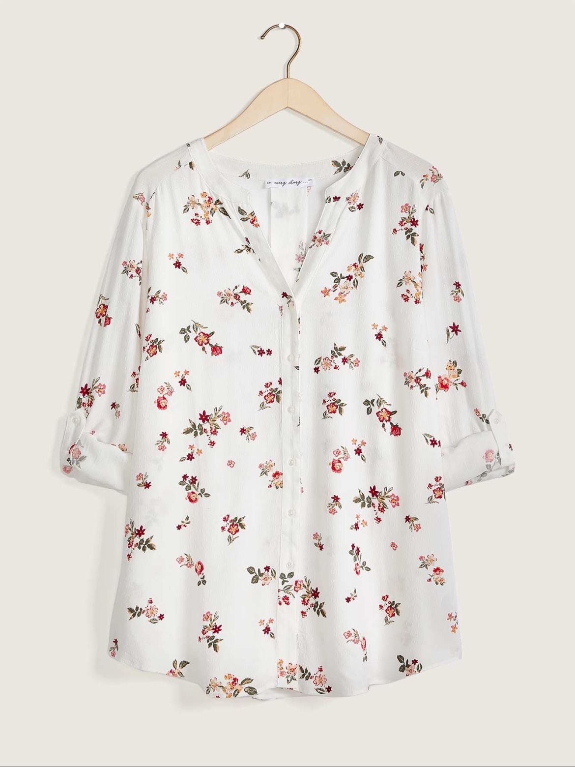 Buttoned-Up Blouse With Stand Collar, Printed - In Every Story