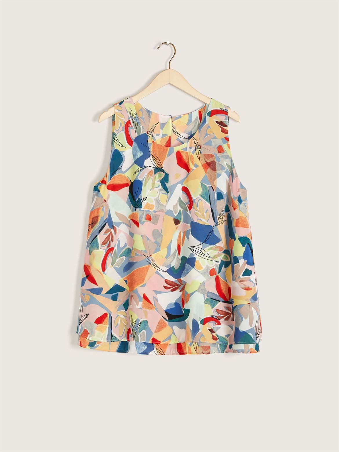 Printed High-Low Double Layer Tank Top - Addition Elle