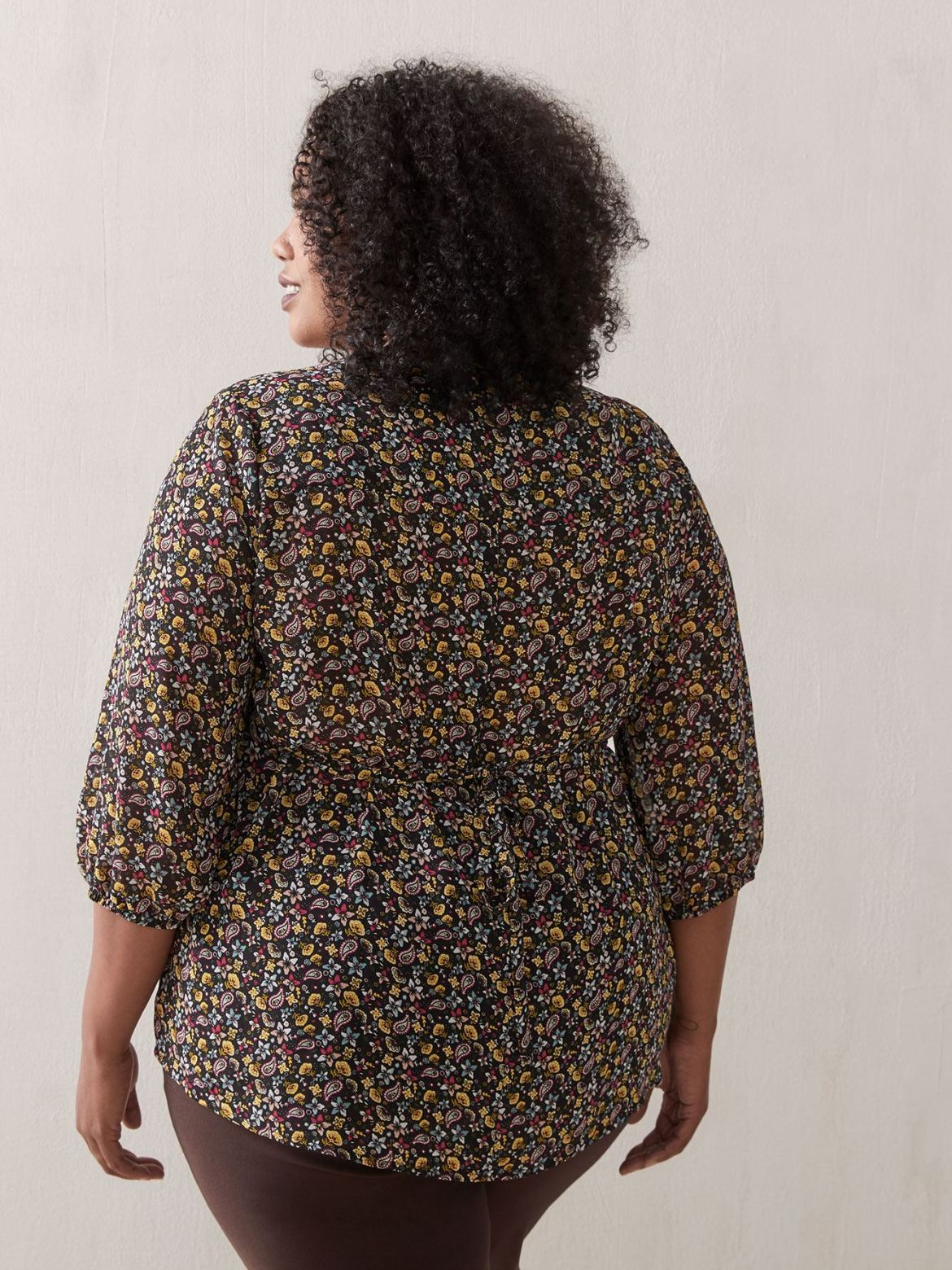 Printed Chiffon Pin-Tuck Blouse - In Every Story