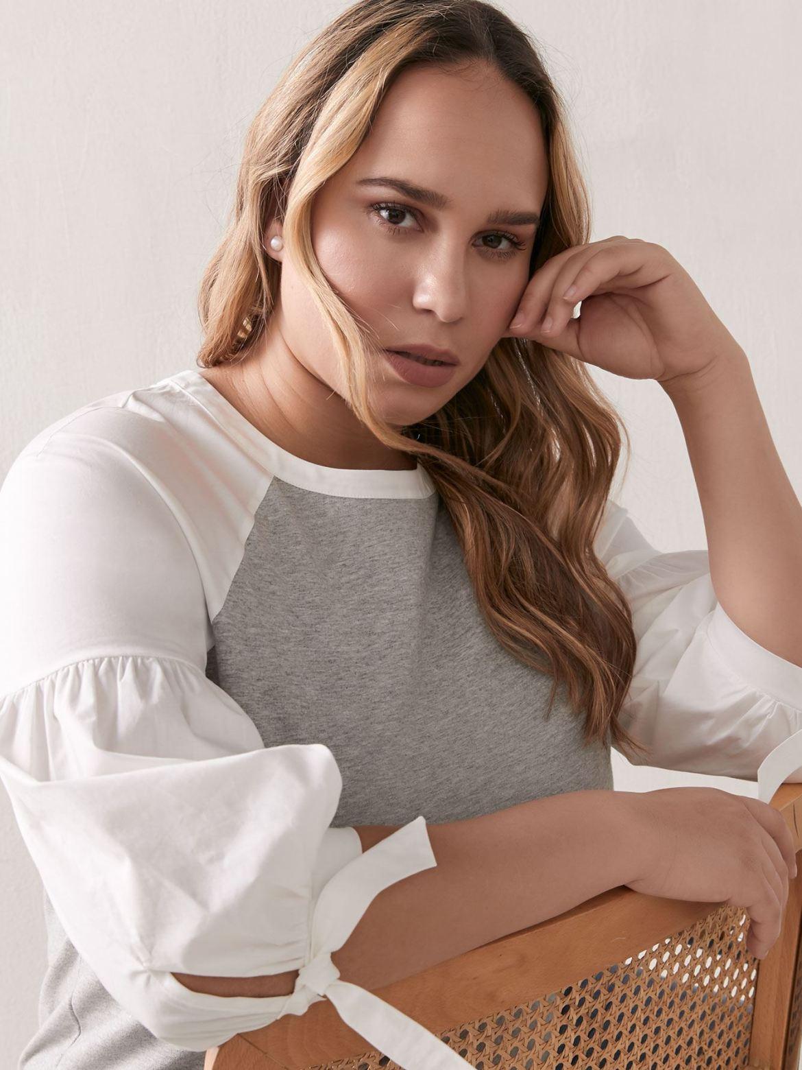 Mixed Media Raglan-Sleeve Top - Addition Elle