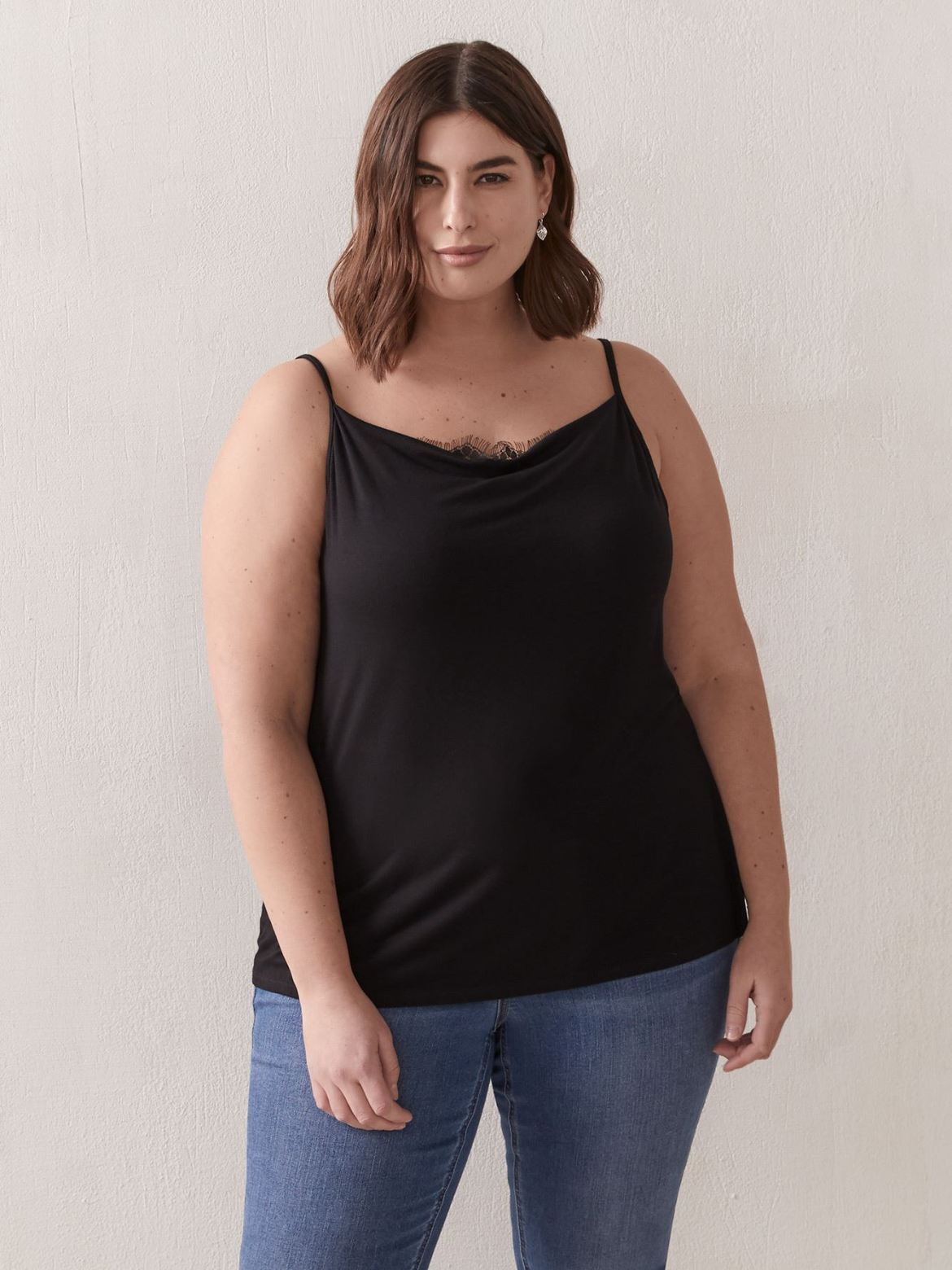 Cowl Neck Cami With Lace Detail - Addition Elle