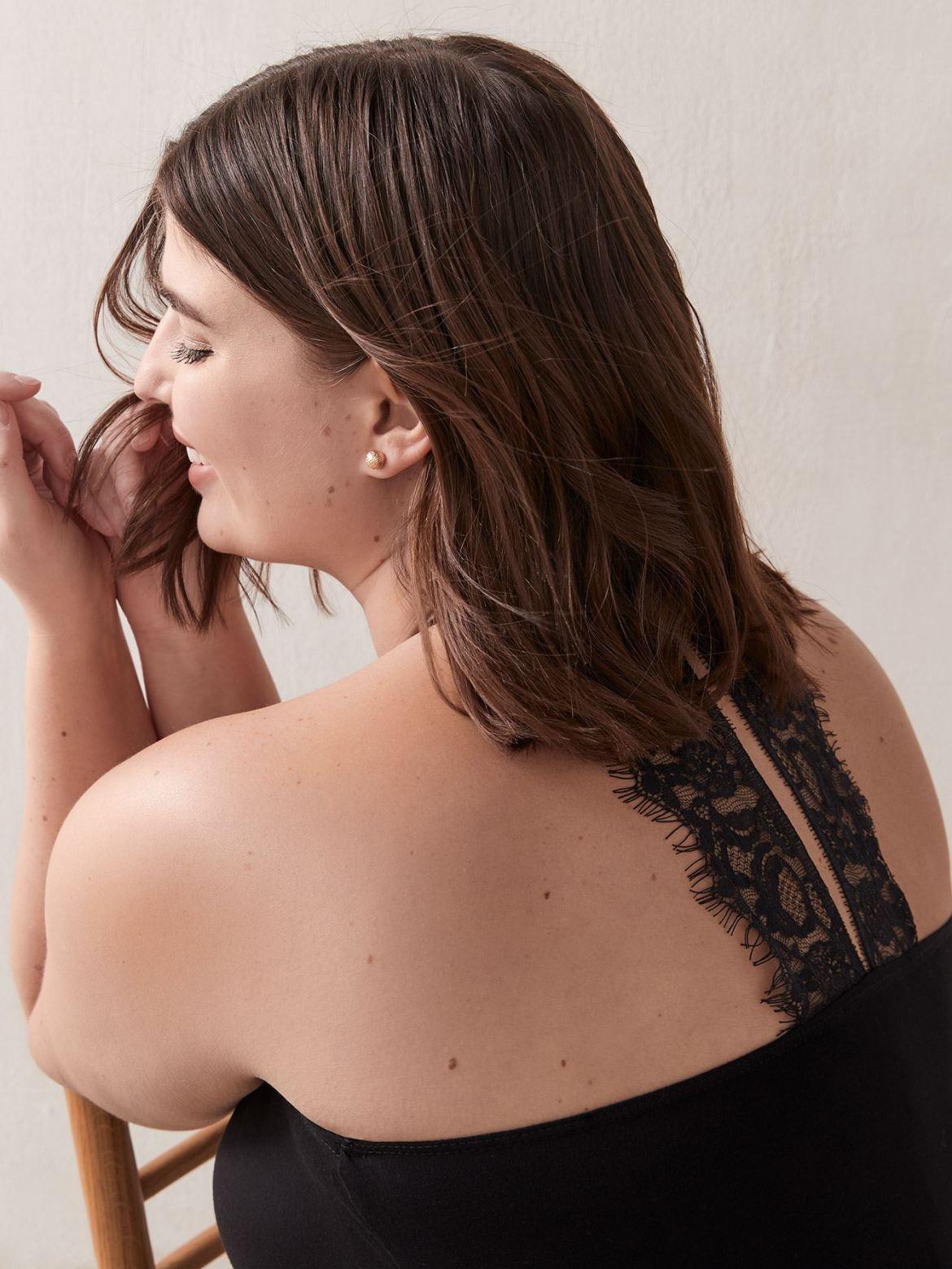 V-Neck Cami With Back Lace Detail - Addition Elle