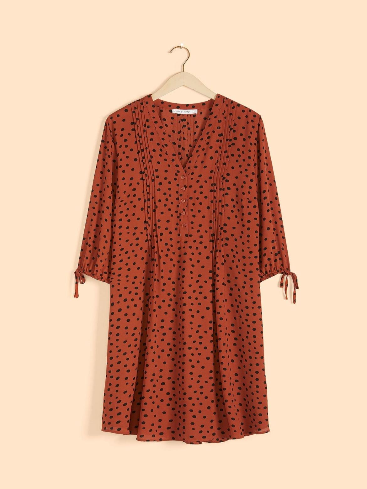 Printed 3/4 Sleeve Shirt Dress - In Every Story