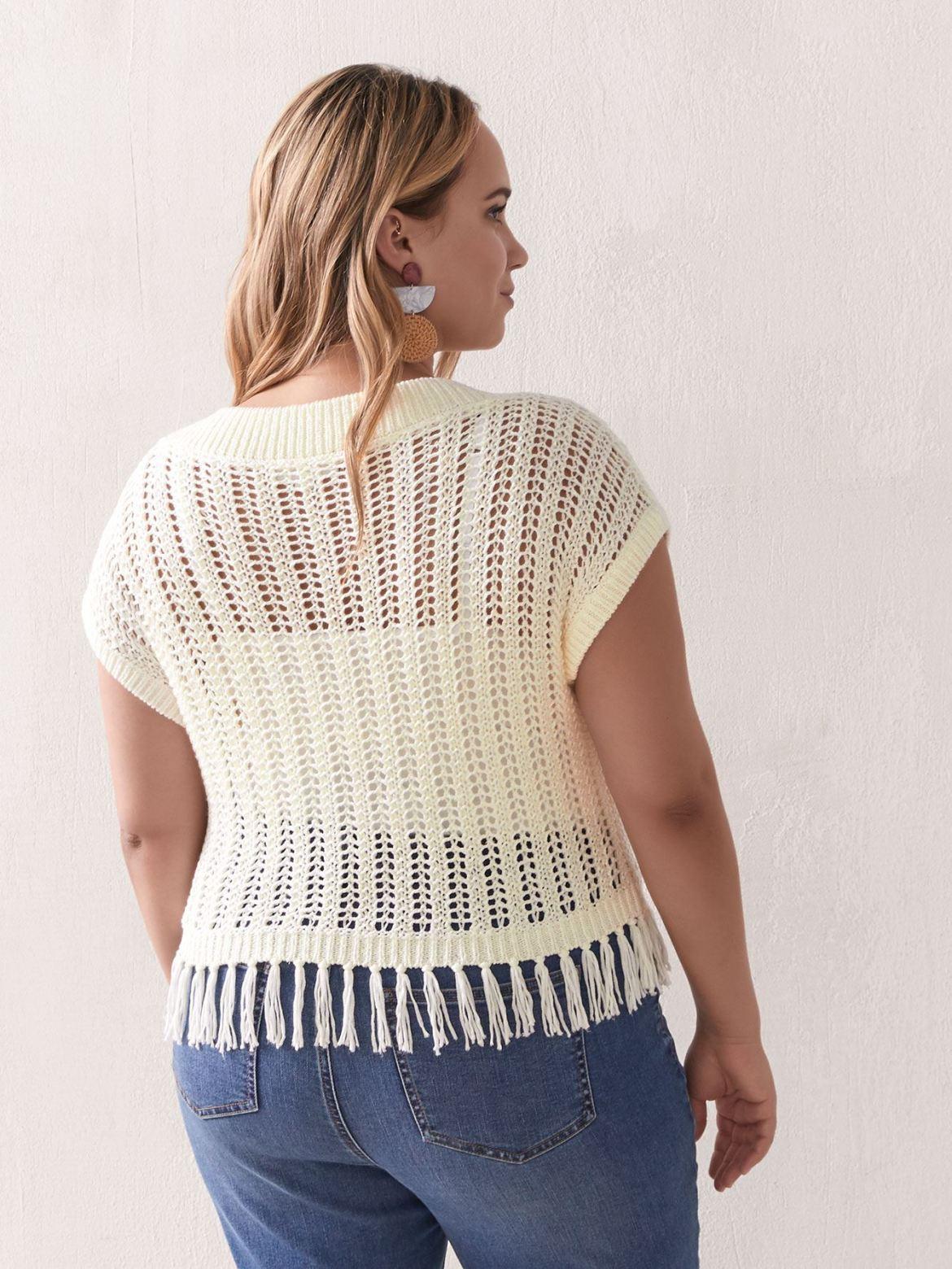 Crochet Sweater with Fringed Hem - Addition Elle