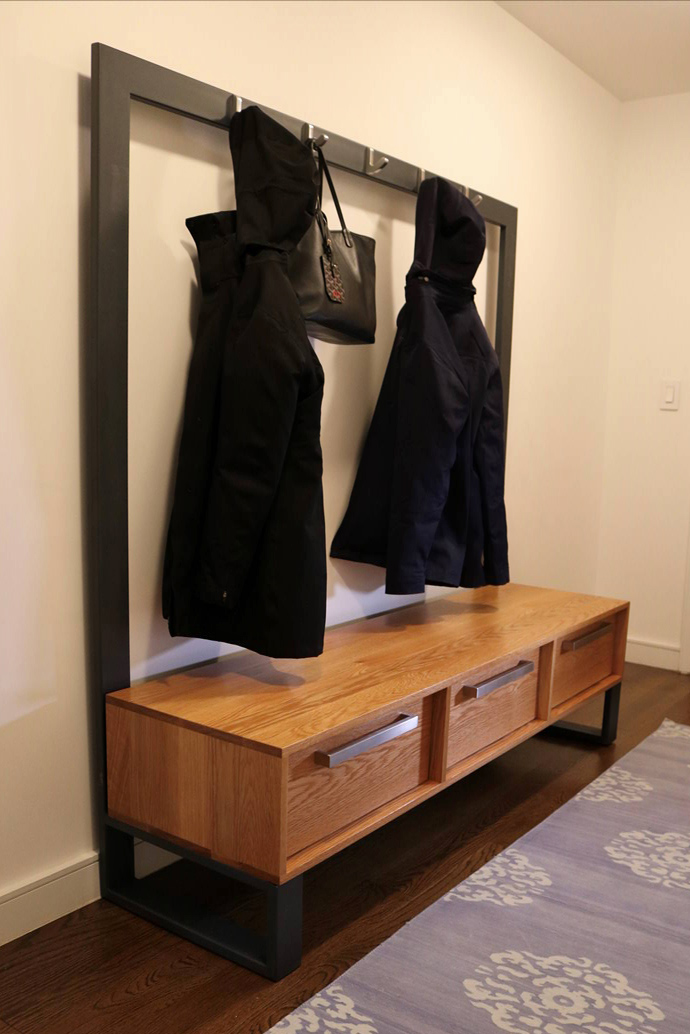 entryway bench coat rack and chest of