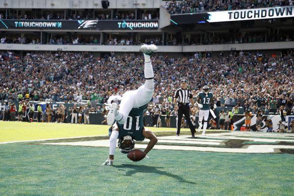 Philadelphia Eagles' DeSean Jackson celebrates after scoring a touchdown during the second half of an NFL football game against the Washington Redskins, Sunday, Sept. 8, 2019, in Philadelphia. (AP Photo/Matt Rourke)