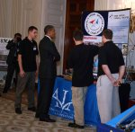 Pres. Obama checks out the Rocket Team's display