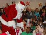 Santa talking to students