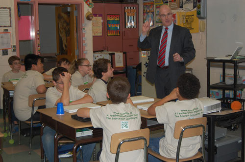 Joe Calhoun, chief meteorologist for WGAL-TV, visits the students