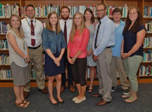 New secondary teachers include, from left, Hanna Crowther, Sean Simonds, Sarah Stover, Tyler Barton, Meagan Slates, Kristina Fulton, Chris Feger, Kyle Bulicz and Jessica Cunningham.