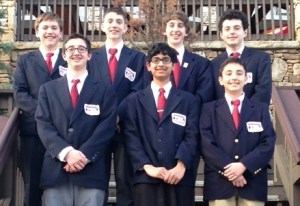 Participants from Manor Middle School were, from left, front row, Bryce Julian, Neel Mahapatra and Seve Flores; back row,  Jared Stephan, Matt Schaefer, Ray Gerner and Josh Brant.