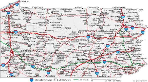An Easy To Read Pennsylvania Road Map
