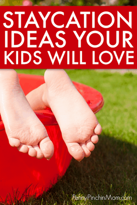 staycation idea child's feet in a red swimming pool