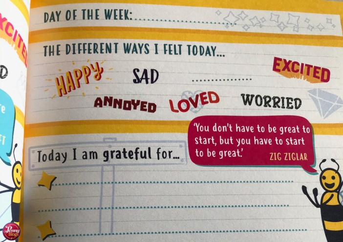 Happy Confident Me Journal - example of a daily page in the journal