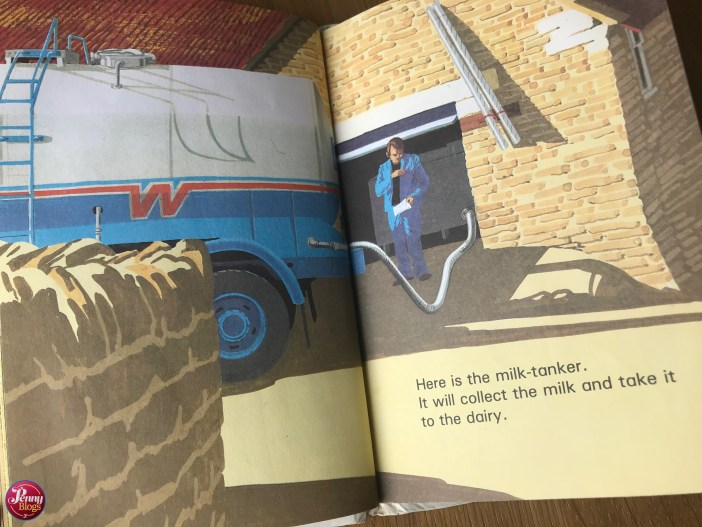 A page from Ladybird Toddler Books On the Farm showing a milk tanker filling up on a dairy farm